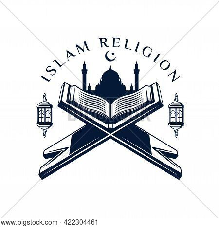 Quran Or Koran Vector Icon With Holy Book Of Muslim Religion Prayers. Open Book Of Islam Religious T