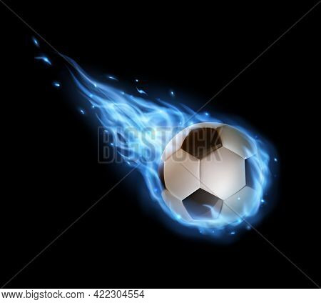 Flying Soccer Ball With Blue Fire Trails, Vector Football Ball Falling In Flame Or Blaze With Tongue