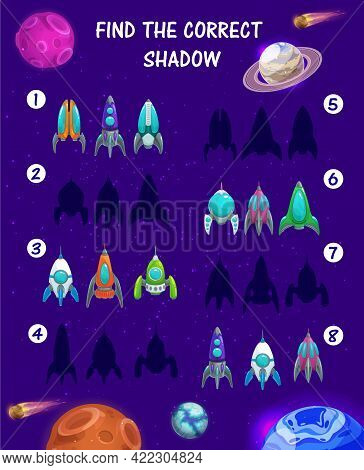 Kids Maze Game With Spaceship Silhouettes On Vector Background With Space Planets. Education Game, M