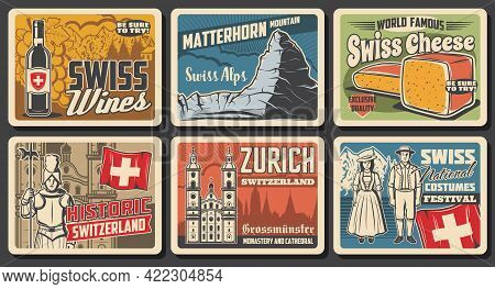 Switzerland Travel Landmark Retro Posters Of Swiss Tourism Vector Design. Flag Of Switzerland, Alps