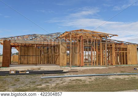Mackay, Queensland, Australia - May 2021: A House Frame Being Constructed On A Suburban Street In A
