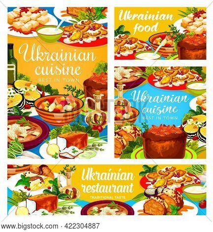 Ukrainian Cuisine Vector Galushki, Chicken Stabbed And Noodle, Smazhenina With Herring, Kherson Yush