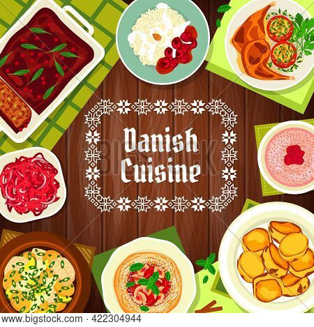 Danish Cuisine Food, Restaurant Menu Cover, Denmark Dishes And Meals, Vector. Traditional Danish And
