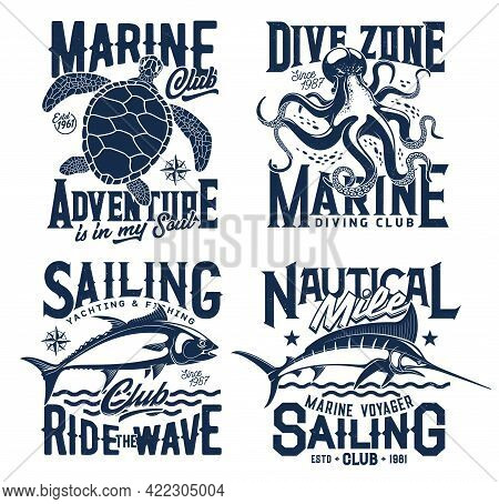 Nautical Marine T Shirt Prints With Sea Waves, Ocean Club Vector Icons. Diving, Sailing And Yachting