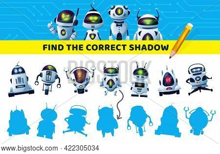 Find Correct Robot Shadow, Kids Game Or Puzzle, Vector Brain Activity And Leisure Entertainment. Kid
