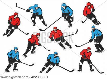 Ice Hockey Sport Players With Sticks, Pucks, Skates. Isolated Vector Ice Hockey Team Players On Rink