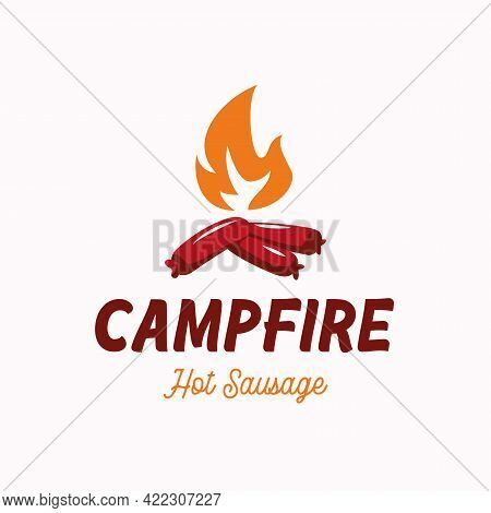 Creative Logo With Sausage As Wood In Bonfire For Sausage Grill Business Design Template