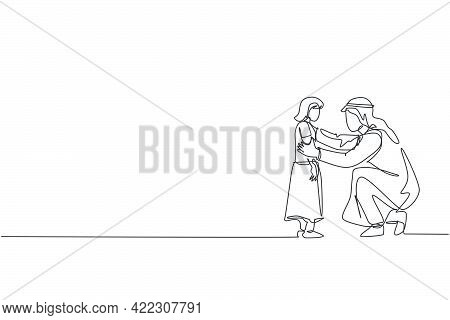 Single Continuous Line Drawing Of Young Arabian Father Giving Talk To His Daughter, Giving Good Advi