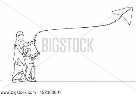 One Single Line Drawing Of Young Arabian Mother And Her Son Playing Kite At Outfield Park Together V
