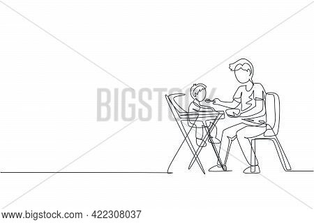 Single Continuous Line Drawing Of Young Dad Feeding His Son A Meal Who Sit At Baby Dining Chair, Hap