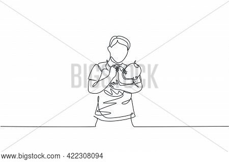 One Single Line Drawing Of Young Father Carrying And Feeding His Baby With Nutritious Food At Home G