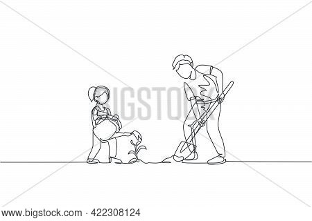 One Single Line Drawing Young Father Digging Ground Using Shovel And Daughter Watering A Plant At Ho