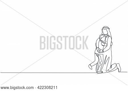 One Single Line Drawing Of Young Arabic Father Playing And Hugging Boy Son Full Of Love Warmth Vecto