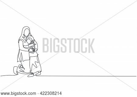One Continuous Line Drawing Of Young Islamic Mother Hugging Daughter Girl Full Of Love And Warmth. A