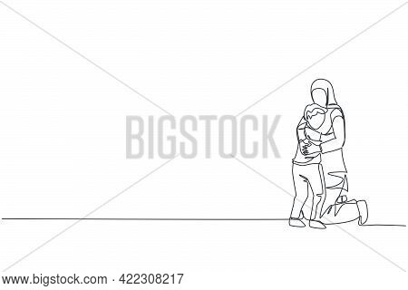 One Continuous Line Drawing Of Young Happy Islamic Mom Hugg Her Boy Son Full Of Love And Warmth. Ara