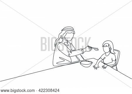 One Single Line Drawing Of Young Islamic Dad Feeding Nutritious Food To Daughter At Lunch Time Vecto
