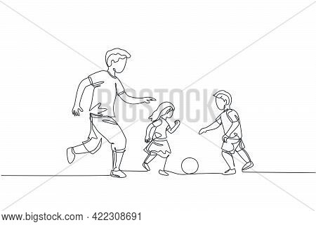 One Single Line Drawing Of Young Father Run And Play Football Soccer With His Son And Daughter At Pu