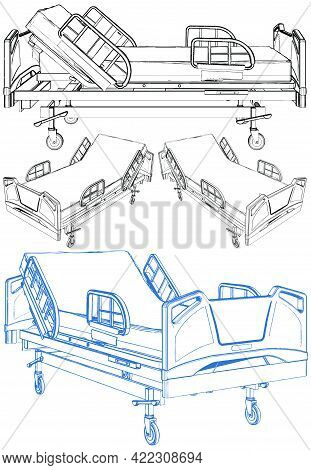 Medical Hospital Bed Vector. Illustration Isolated On White Background. A Vector Illustration Of A H