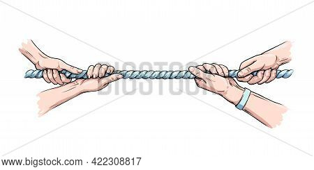 Tug War Competition With Rope. Hands Pulling Rope. Colored Hand Drawn Vector Illustration Isolated I