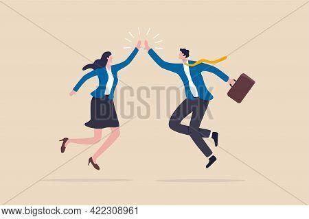 Team Success Winners, Hi Five Or Congratulation On Business Goal Achievement, Collaboration Or Encou