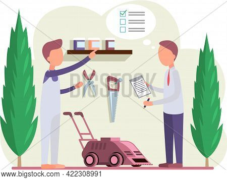 Gardeners With Inventory List Stand In Shed With Equipment And Lawn Mower. Farmers Work In Yard, Tak