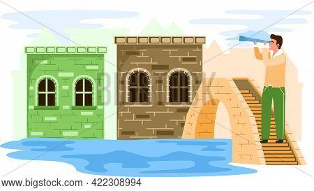 Traveler With Spyglass Stands On Stone Bridge Over River In Old Town With Low Brick Ancient House, F
