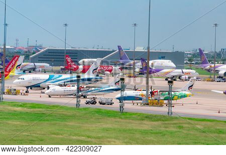Samut Prakan, Thailand-may 15, 2021 : Cargo Aircraft Parked At Airfield In The Airport Near Aot Offi