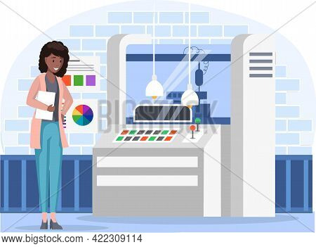 Female Character Near Professional Equipment For Print House. Girl Lookng On Printing Machine. Emplo