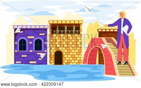 Female Traveler Stands On Small Stone Bridge Over River In Old Town With Low Brick Ancient Houses, F