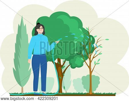 Girl Gardening Plant. Woman Planting Small Tree, Pours Water On Him From Hose, Agriculture Gardener