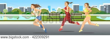 The Girls Are Running. Sports Running. Fitness And Healthy Lifestyle. Flat Cartoon Style. Women Runn