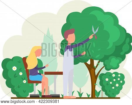 Gardeners Work In Garden Cartoon Worker With Scissors Cuts Big Green Tree And Shrub, Take Care Of Pl
