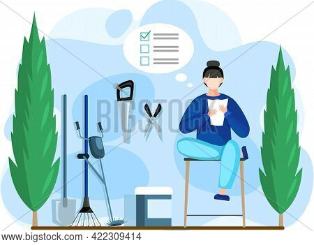 Gardener Female Character Sitting In Shed With Tools In Garden Holding Paper With Inventory List. Cr