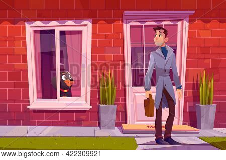 Man Leaving Home With Dog See Off Him Through The Window. Owner Male Character Holding Bag Going At