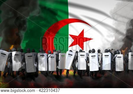 Algeria Police Officers In Heavy Smoke And Fire Protecting Country Against Riot - Protest Fighting C