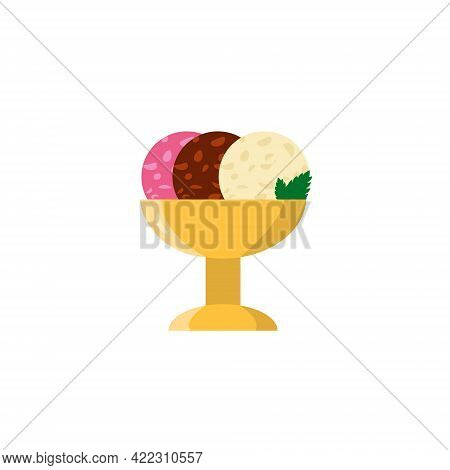 Flat Vector Illustration Of A Metal Golden Cup With Chocolate, Strawberry And Vanilla Balls Of Ice C
