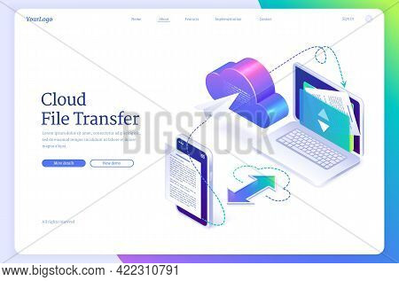 Cloud File Transfer Isometric Landing Page, Hosting Media Server, Service For Private Information Up