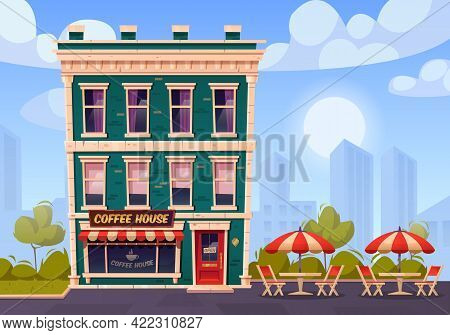 Coffee House With Outdoor Terrace, Summer City Cafe On Building Ground Floor With Glass Showcase, Wo