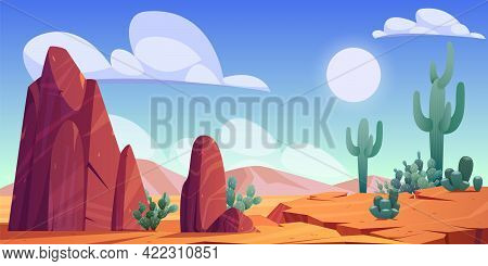 Desert Landscape With Rocks, Cactuses And Mountains On Skyline. Vector Cartoon Illustration Of Hot S