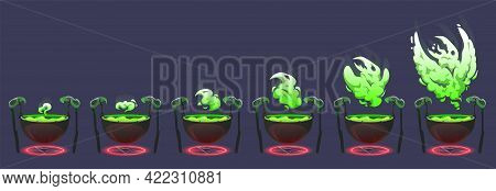 Witch Cauldron With Green Boiling Magic Potion And Smoke. Old Cooking Boiler With Glowing Spiritual