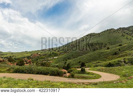 Scenic Spring Landscape In Red Rocks Park Near The Town Of Morrison, Colorado
