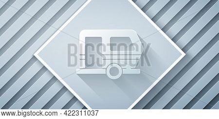 Paper Cut Rv Camping Trailer Icon Isolated On Grey Background. Travel Mobile Home, Caravan, Home Cam