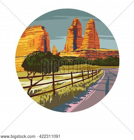Summer Landscape. The Highway Is A Road Next To The Mountains. High Quality Freehand Illustration. H