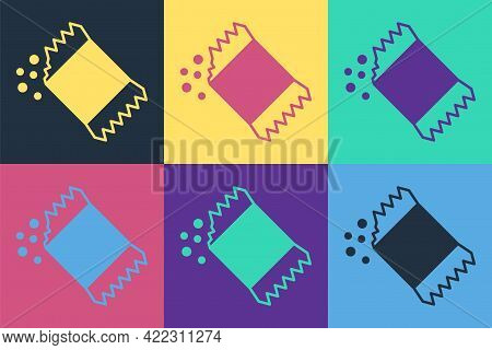 Pop Art Packet Of Pepper Icon Isolated On Color Background. Vector