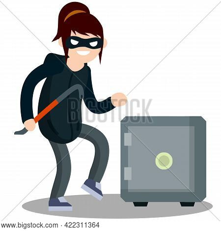 Woman Thief With Crowbar And Bank Safe. Breaking And Stealing Money. Criminal Problem. Female Offend