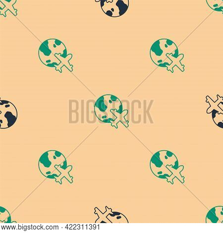 Green And Black Globe With Flying Plane Icon Isolated Seamless Pattern On Beige Background. Airplane