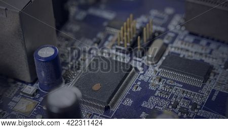 Composition of computer microchips, resistors and motherboard. global computer and digital security concept digitally generated image.