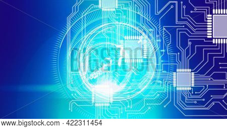Composition of computer motherboard circuits with glowing safe dial on dark background. global computer and digital security concept digitally generated image.