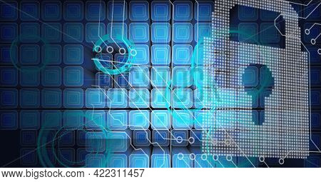 Composition of computer motherboard circuits with circular scopes and blue squares and pixel padlock. global computer and digital security concept digitally generated image.