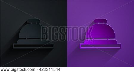 Paper Cut Hotel Service Bell Icon Isolated On Black On Purple Background. Reception Bell. Paper Art